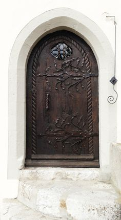 Medieval Wood & metal door, Gruyères Switzerland