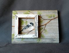 Distressed barnwood, Hand painted Bird with boxed in feature, Wall art…