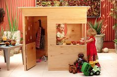 "The ""Wedge"" house by Modern Playhouse, designed by Gitane Royce. Made of locally-sourced recycled materials or plywood, her modern style play houses are suitable for an indoor or outdoor usage."