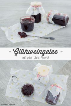 Glühweingelee in 3 Variationen (mit oder ohne Alkohol) Mulled wine jelly in 3 variations (with or without alcohol) – a delicious and simple recipe for fine jam for Christmas and the Advent season. To give away or just eat yourself. Wine Jelly, Alcohol, Winter Drinks, Mulled Wine, Vegetable Drinks, Healthy Eating Tips, Vegan Baking, Food Menu, Food And Drink