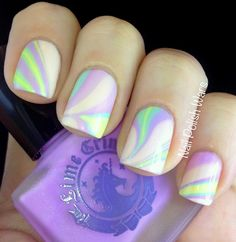 marblized nails using Lime Crime's polishes.