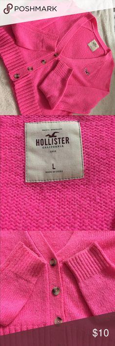 HOLLISTER! Pink Sweater!!! In great condition hollister HOT pink sweater!! 😍❤️ Hollister Tops Sweatshirts & Hoodies