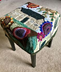 """Wonky House"" footstool design by Cindi Gay, adapted and hooked by Jane Anderson, June 2017"