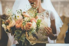 Unstructured bouquet  - Rustic Barn Wedding At Nancarrow Barn In Cornwall With Bride In Mori Lee Gown With A Flo And Percy Headpiece With Groom In Navy French Connection Suit And Bridesmaids In Nude Dresses From Debenhams Images From Ross Talling