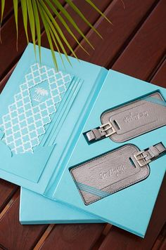 After they RSVP, guests are sent travel information and silver leather luggage tags.