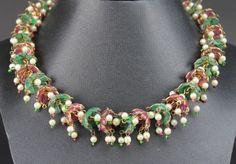 Rare Vintage Moghul India Style Plique A Jour Enamel Gripoix Glass Necklace LBH