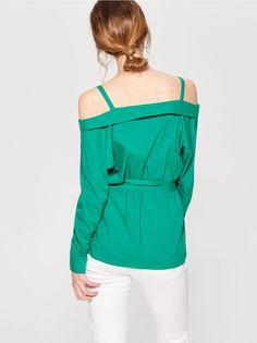 Блузка с открытыми плечами - зеленый - 5