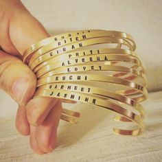 New to jennascifres on Etsy: Super Skinny Golden Brass Cuff Bracelet with Custom Stamped Wording (16.00 USD)