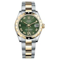Pre-owned Rolex DateJust 31 Steel & Yellow Gold Domed Diamond Bezel... (19 057 645 LBP) ❤ liked on Polyvore featuring jewelry, watches, i love jewelry, gold fine jewelry, gold star jewelry, preowned watches and steel watches