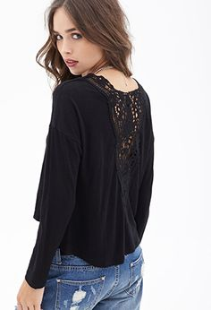 Lace Back Slub Knit Top | FOREVER21 - 2000121735