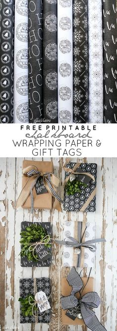 These Free Printable Christmas Chalkboard Wrapping Papers and Gift Tags are perfect to have on hand through the holidays by Ella Claire.