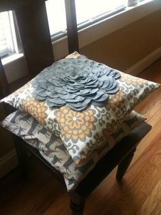 Amy Butler Lotus Wall Flower Felt Blossom Pillow by TheRusticOwl, $20.00