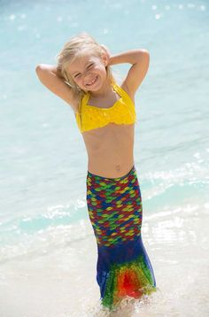 Bring the magic of mermaids into your home with Fin Fun's Rainbow Reef mermaid tail skirt for toddlers! Shop this tail of stretchy swimsuit fabric featuring a stunning display of scales in vibrant rainbow colors today! Rainbow Mermaid Tail, Mermaid Tail Skirt, Fin Fun Mermaid Tails, Mermaid Swim Tail, Swimsuit Fabric, Cute Little Girls Outfits, Cute Young Girl, Kids Swimming, Girl Fashion