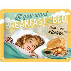 Metalowy plakat mały szyld tin sign Jeśli czekasz na śniadanie podane do łóżka…