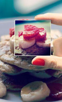 Strawberries, bananas, + honey on pita