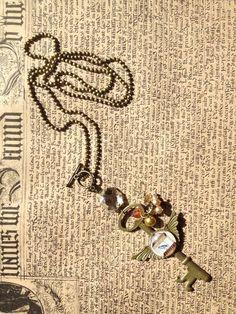 Vintaged key charm, reclaimed chandelier crystal