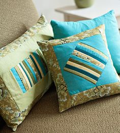 blue and green pillows