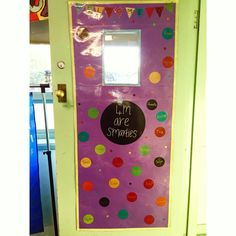 DIY Classroom Door: made from wall sticker from Kmart and Cardboard. Bathroom Crafts, Easy Arts And Crafts, Paper Crafts, Diy Crafts, Do It Yourself Crafts, Classroom Door, Birthday Crafts, Rock Crafts, Wall Sticker