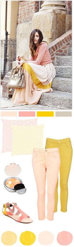 Oh the lovely things: Color Palette : Salmon + Mustard  Love this tones! :)