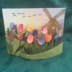 Marianne Design windmill and tulips. Bendi Card