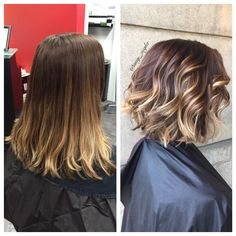 Before and after texturized bob and brunette balayage by @amy_ziegler #versatilestrands #askforamy