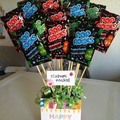 Birthday DIY.  Centerpiece or gift.  Tag with their age.  Party decoration ideas.