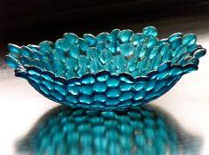 Fused glass bowl, Optic POD - Turquoise. $68.00, via Etsy.