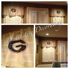 UGA burlap valance teen boys room