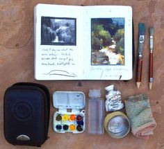 gouache field sketch supplies. thats it.  Though I usually use a craft paper sketch book to paint in, I also enjoy carrying around a small moleskine, it's just so handy! So, some years ago I decided to put together a pocket size watercolor kit for the moleskine. This is what I came up with.    The case is a samsonite camera case and the drawings are in black prismacolor pencils.    http://www.moleskineus.com/mbl32-moleskine-passions-art-journal.html