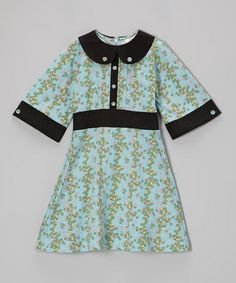 #zulilyfind! Blue Tiny Floral Pintuck Organic Dress - Infant, Toddler & Girls #zulilyfinds