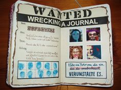 wreck this journal ideas... Glue In A Photo Of Yourself You Dislike. Deface It..... I really like the finger prints.