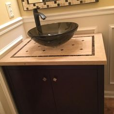 Home Decorators Collection Argonne 31 in. W x 22 in. D Bath Vanity in Espresso with Marble Vanity Top in Brown with Glass Sink 0322110820 - The Home Depot Oak Bathroom Vanity, Bath Vanities, Glass Basin, Marble Vanity Tops, Marble Mosaic, Contemporary Design, Decor Styles, Espresso, Home Improvement