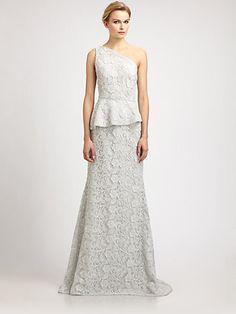 Carmen Marc Valvo - One Shoulder Lace Peplum Gown - Saks.com $518