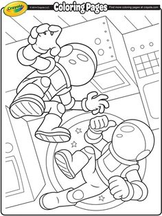 Space Astronauts Coloring Page.