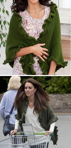 Free Knitting Pattern for Kate's Shawl - This ruffled shawl is inspired bythe shawlKate wore on a market run a week after her weddingand features a 2 row repeat texture pattern. Designed byJodi Snyder for Red Heart.