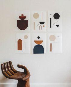 abstract art gallery wall - Home Decoration Ideas Portfolio Graphic Design, Modern Wall Art, Contemporary Art, Unique Wall Art, Art Bleu, Art Minimaliste, Minimal Art, Design Art, Interior Design