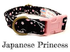 Black Pink Cherry Blossom Floral Girl Dog Collar  by veryvintage