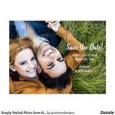 SAVE THE DATE Simply Stylish Custom Picture Photo Save the Date Engagement Announcement Pretty Personalized Postcard