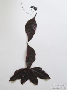 """Malaysian illustrator and artist Tang Chiew Ling explores various forms of leaves and flowers as if they were fashion sketches for her project """"Fashion in Leaves"""". Flower Petals, Flower Art, Flower Girls, Dry Flowers, Flower Fashion, Fashion Art, Paper Fashion, Dame Nature, Unique Drawings"""