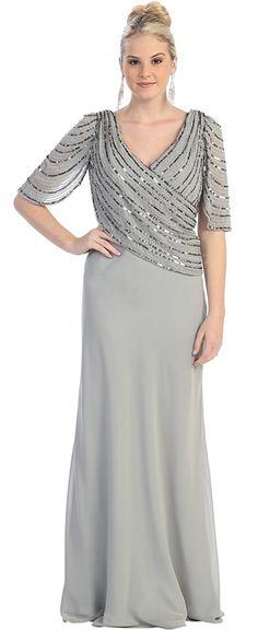 Amazon.com: MOB Mother of the Bride Formal Evening Dress #996 (Medium, Silver): Clothing