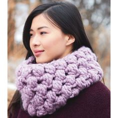 Stay cozy and warm in this Patons® Cobbles™ In a Jiffy Cowl