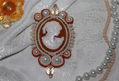 Soutache pendant with cameo