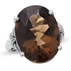 Large Oval Smoky Quartz Ring in Sterling Silver