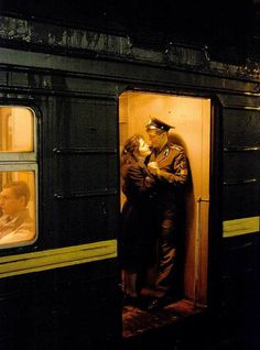 A Soviet Army cadet of the Novosibirsk Higher Military Command School riding the train with his girlfriend. Milan Kundera, Trains, Ticket To Ride, Soviet Army, Pose, Collage, Train Tracks, Time Travel, Art Reference