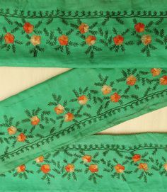 Vintage Indian Sari Sewing Border Antique Embroidered Decorative Free Shipping Indian Green 1YD Trim Ribbon Lace VB12677 by VintageHaat on Etsy https://www.etsy.com/listing/488655972/vintage-indian-sari-sewing-border