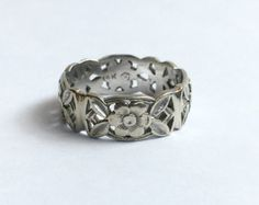 Silberne Blume Ring Floral Ehering Vintage von emilyjdesign