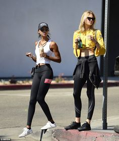Staying fit: Romee Strijd and Jasmine Tookes displayed their fit physique in workout gear ...