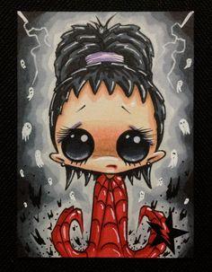 Sugar Fueled Lydia Beetlejuice Ghost lowbrow creepy cute big eye ACEO mini print