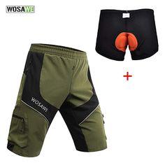 WOSAWE Men Mountain Loose-Fit Cycling MTB Shorts Plus Padded Underwear Black 7e69004cd
