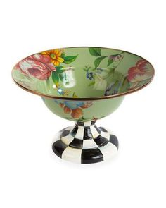 Flower Market Large Compote, Green by MacKenzie-Childs at Neiman Marcus Green Flowers, Large Flowers, Cake Carrier, Glass Ceramic, Flower Market, Mild Soap, Decorative Accessories, Neiman Marcus, Decorative Bowls